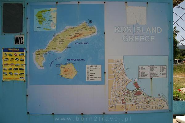 Mapa wysp Kos i Nisyros oraz plan miasta Kos