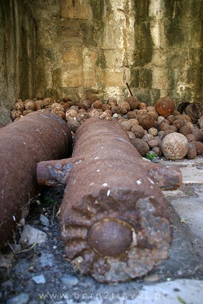 Pozostałości po działach wraz z amunicją.