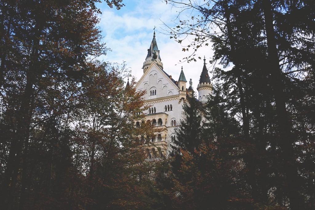 Wyłaniający się zza drzew zamek Neuschwanstein.