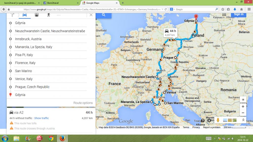 Mini Eurotrip 2014 - pierwotny plan naszej trasy.