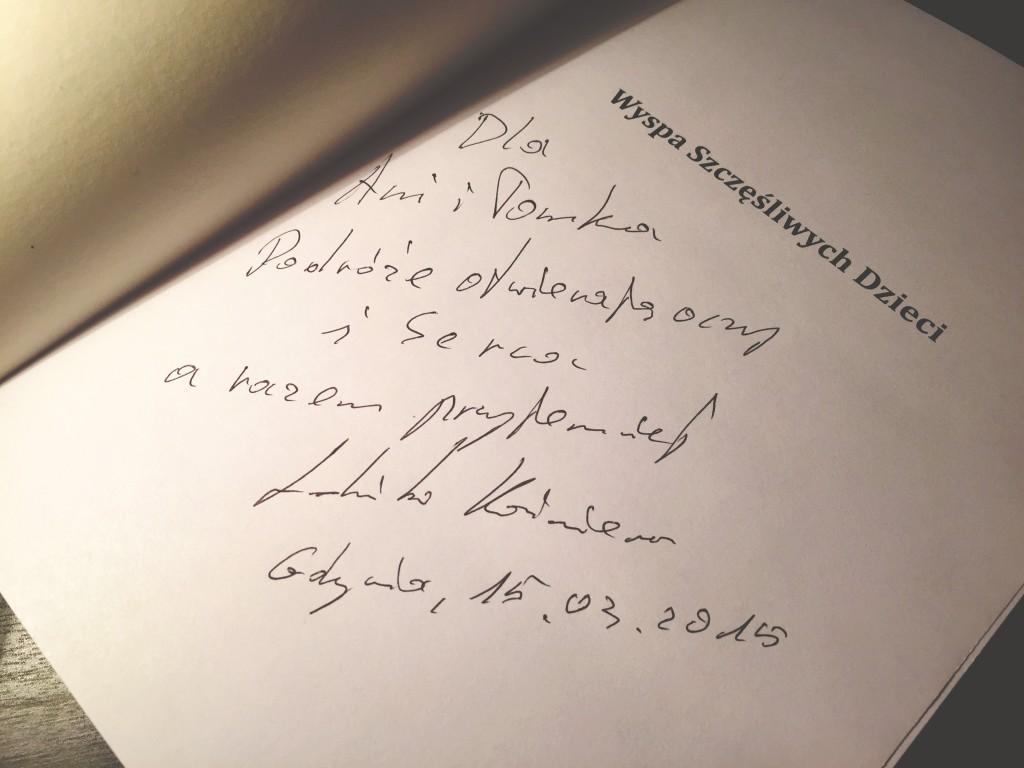 """Dla Ani i Tomka. Czyli nasz wspólny i wyjątkowy egzemplarz książki """"Wyspa Szczęśliwych Dzieci"""" z dedykacją od Kazimierza Ludwińskiego."""