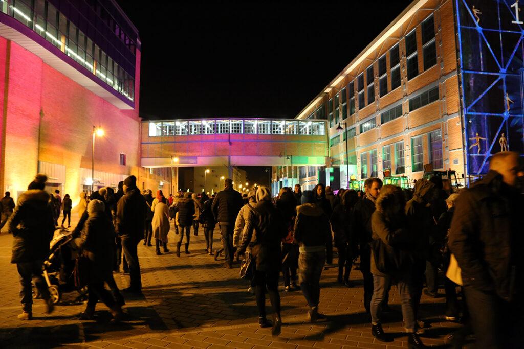 Pięknie podświetlone budynki EC1, czyli dawnej elektrowni, która aktualnie kryje w sobie interaktywne Centrum Nauki i Techniki.
