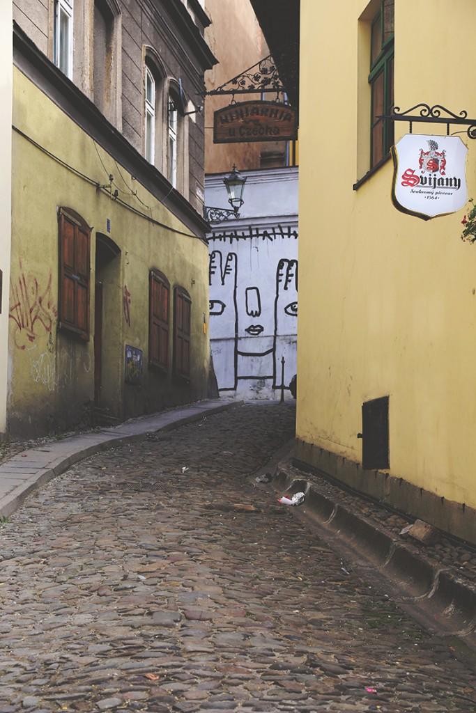 Cieszyński street art wyłaniający się powoli zza budynków...