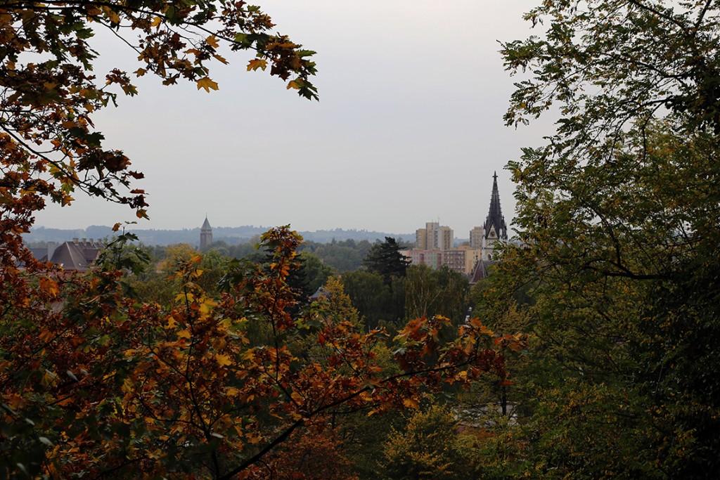 Jesienny widok na Czeski Cieszyn z Wzgórza Zamkowego.