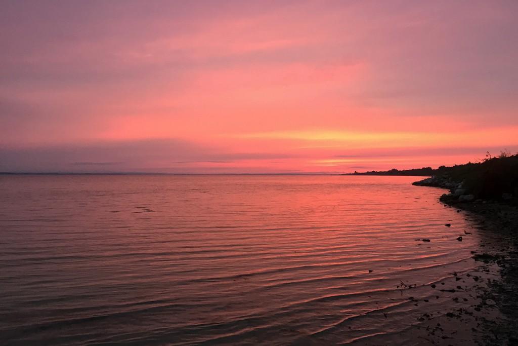 Piękne różowe niebo nad Zatoką, Jastarnia 2015.