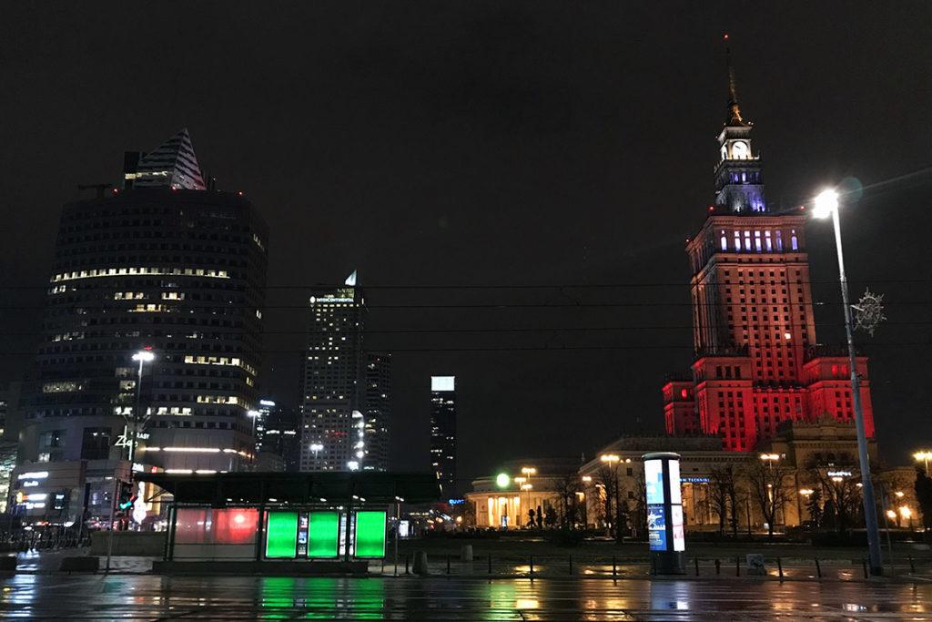 Warszawa nocą, styczeń 2019