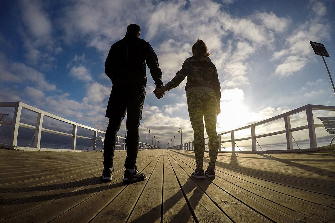 Ania i Tomek na molo w Orłowie - nasze biegowe Walentynki