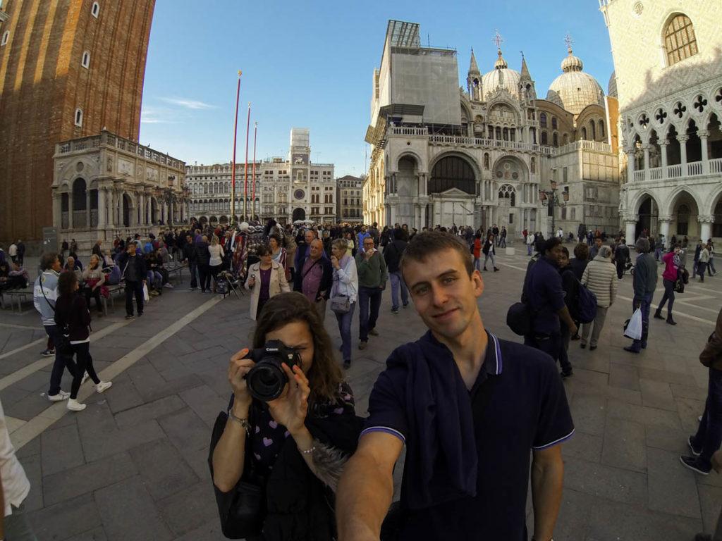 Wenecja - ja i Tomek na Piazzetta San Marco, 1 listopada 2014