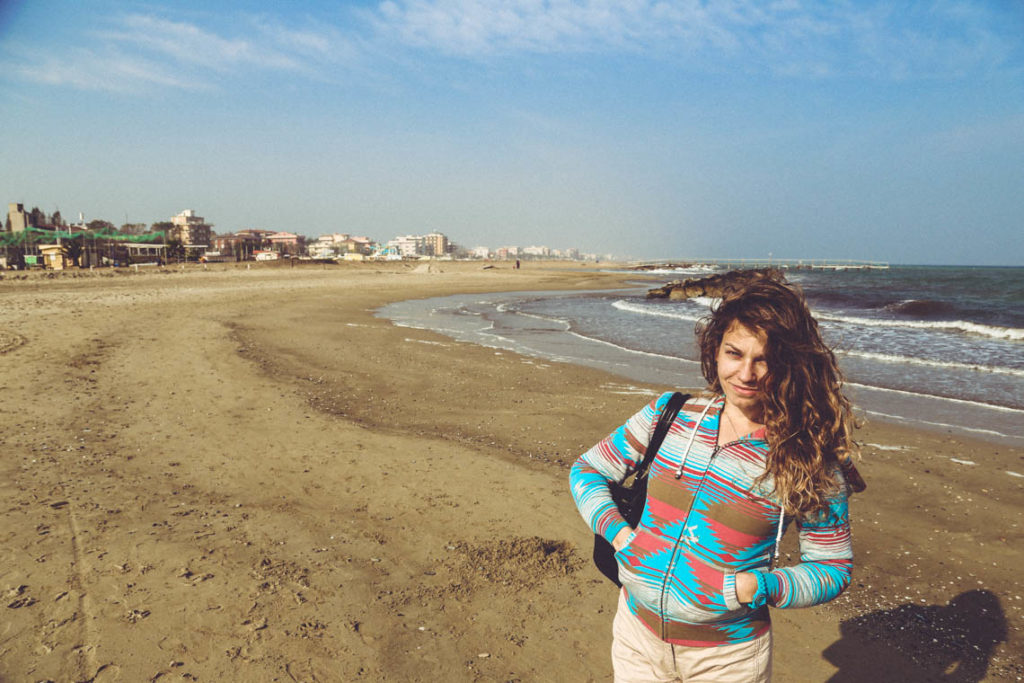 Rimini - na plaży poza sezonem, 31 października 2014