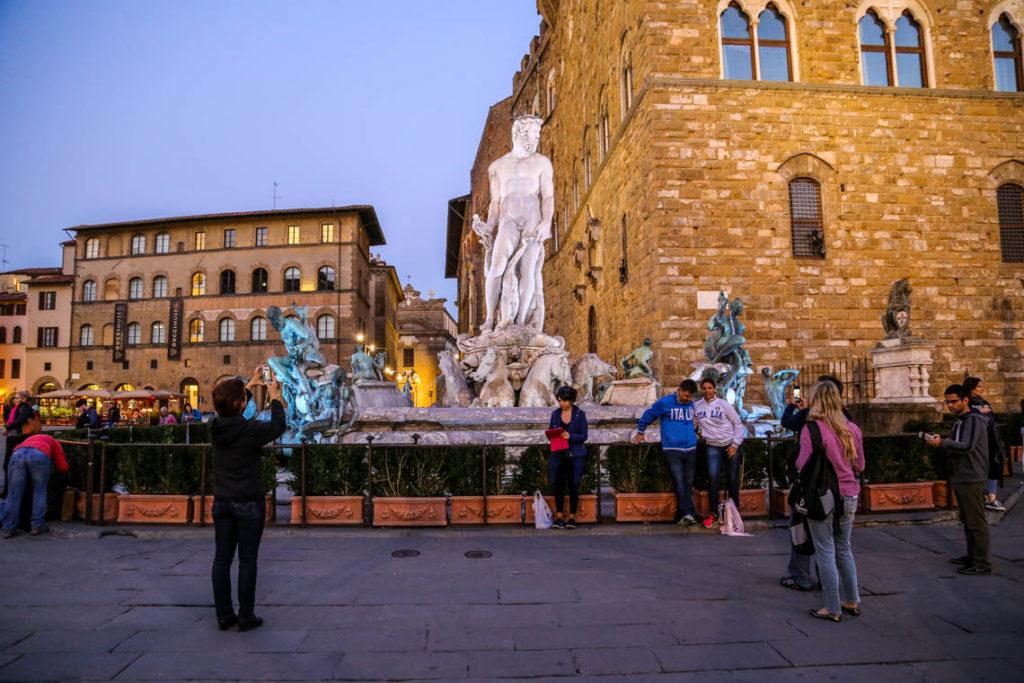 Florencja - Fontanna Neptuna na Piazza della Signoria, 29 października 2014