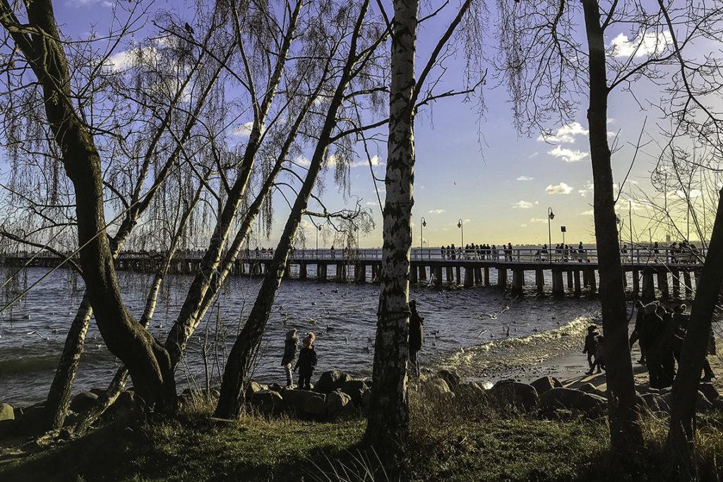 Gdynia - plaża i molo w Orłowie, 5 stycznia 2020