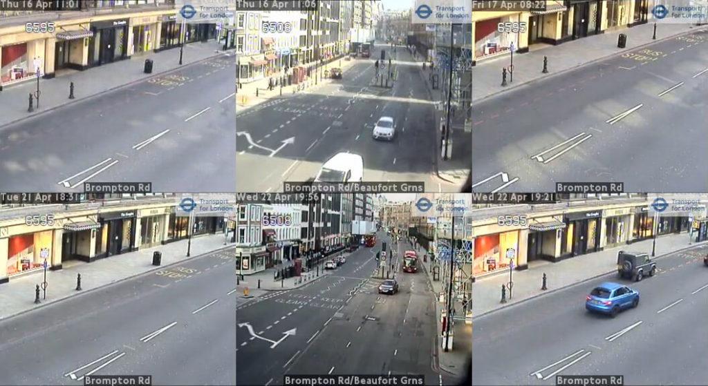 Londyn - ujęcia z kamer przy Brompton Road, kwiecień 2020. Źródło: https://www.tfljamcams.net/