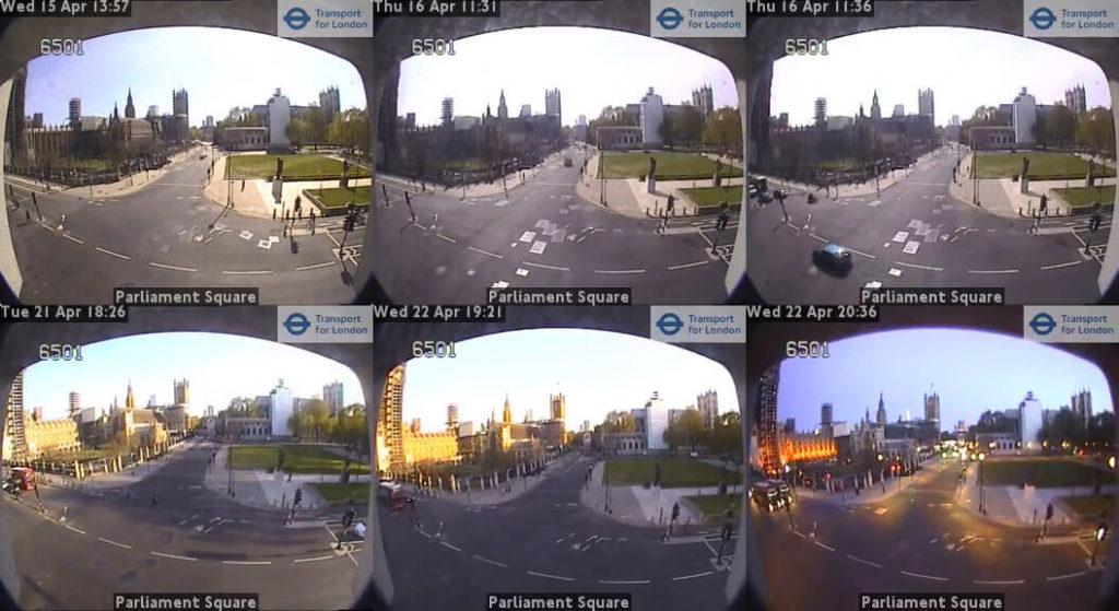 Londyn - ujęcia z kamery przy Parliament Square, kwiecień 2020. Źródło: https://www.tfljamcams.net/