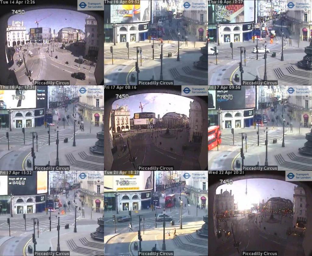 Londyn - ujęcia z kamery przy Piccadilly Circus, kwiecień 2020. Źródło: https://www.tfljamcams.net/