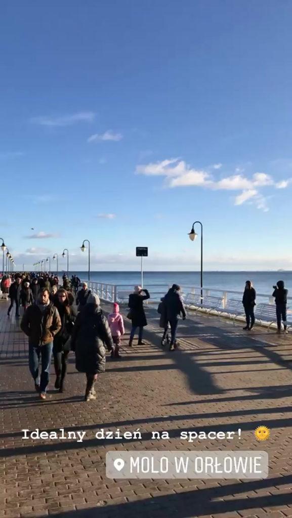 Gdynia - spacer po molo w Orłowie, 5 stycznia 2020. Kadr z instastory @gdyniaunderground