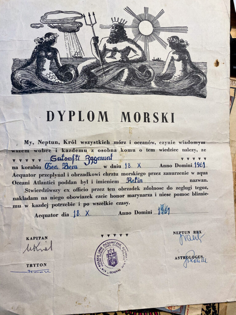 Dyplom morski z 1961 roku, należący do mojego Dziadka.