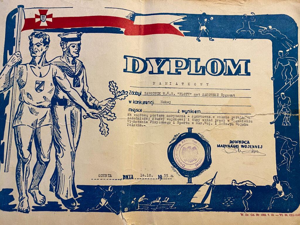 Dyplom pamiątkowy dla mojego Dziadka za wzorową postawę marynarza i sportowca