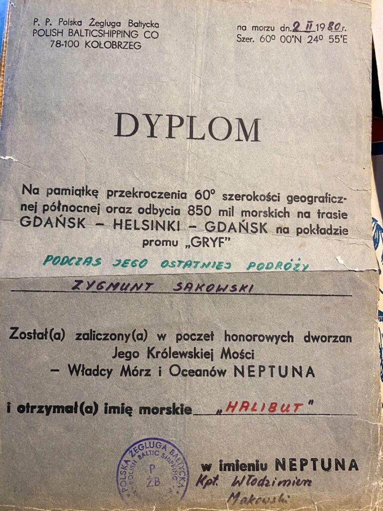 """Dyplom na pamiątkę przekroczenia 60° szerokości geograficznej północnej oraz odbycia 850 mil morskich na trasie Gdańsk - Helsinki - Gdańsk na pokładzie promu """"Gryf"""" podczas jego ostatniej podróży"""