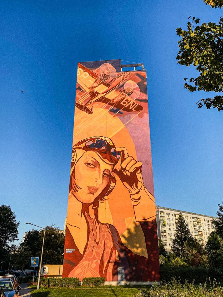Mural autorstwa Rafała Roskowińskiego i Jacka Zdybla, nawiązujący do lotniczej historii miejsca, w którym powstała Zaspa