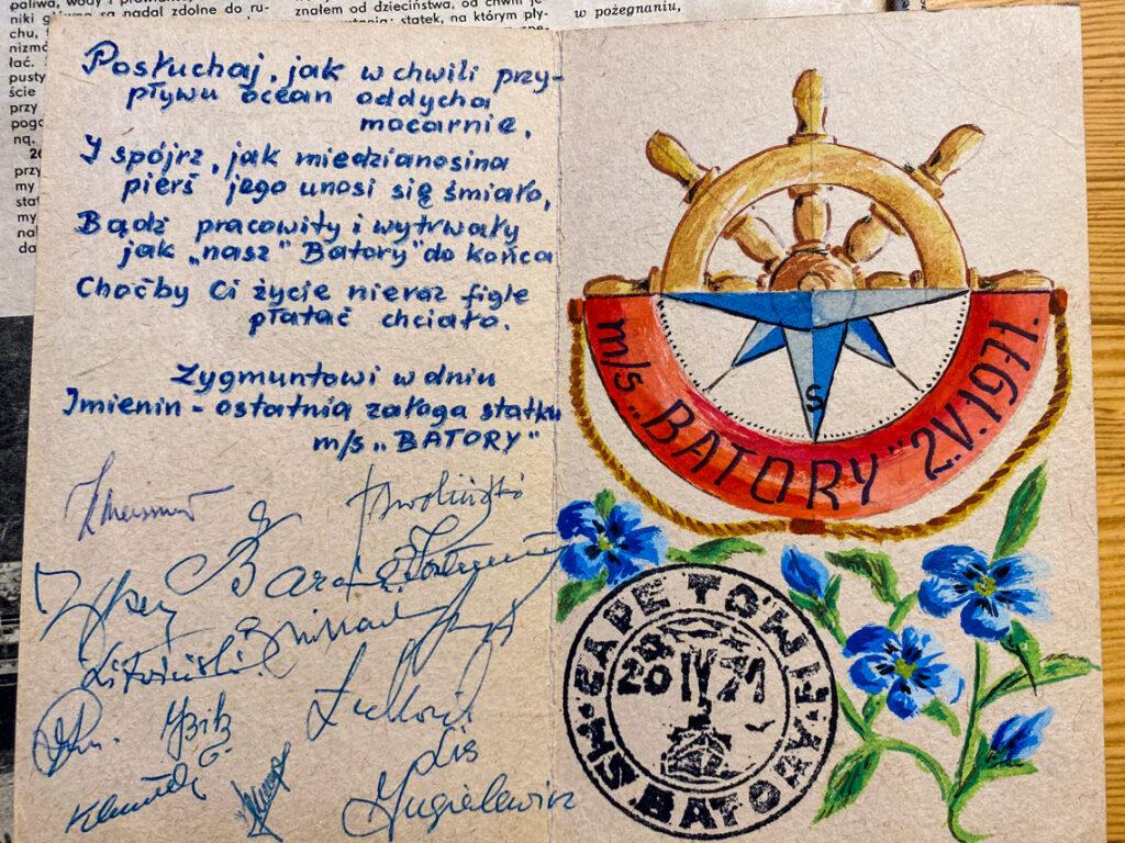Kartka z życzeniami od ostatniej załogi MS Batory. Dziadek uwielbiał obchodzić imieniny!