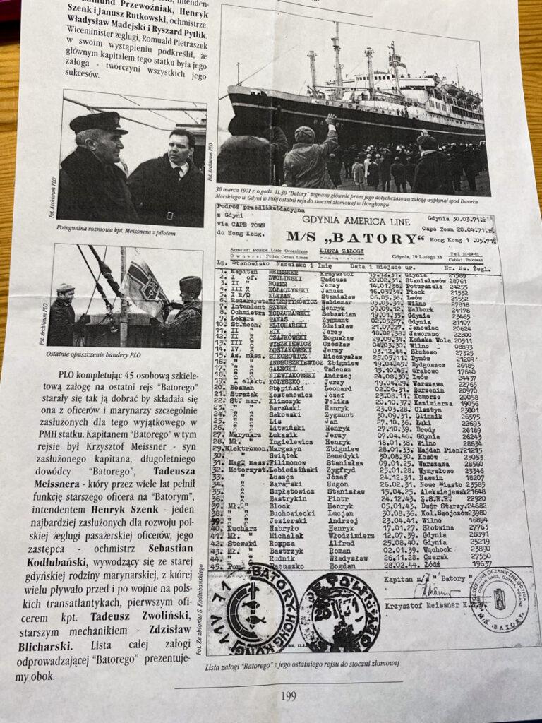 Lista załogi MS Batory podczas ostatniej przedlikwidacyjnej podróży z Gdyni do Hongkongu