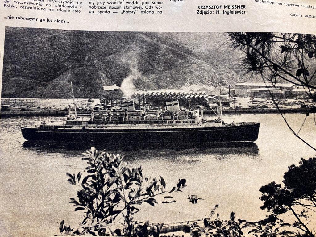 MS Batory podczas ostatniej podróży, fot. H. Ingielewicz