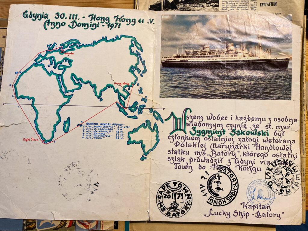 """Kolejna pamiątka mojego Dziadka z ostatniego rejsu """"Lucky Ship - Batory""""."""