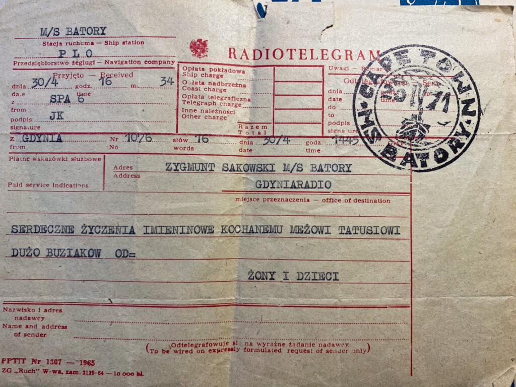 Radiotelegram do Dziadka wysłany z Gdyni na statek MS Batory