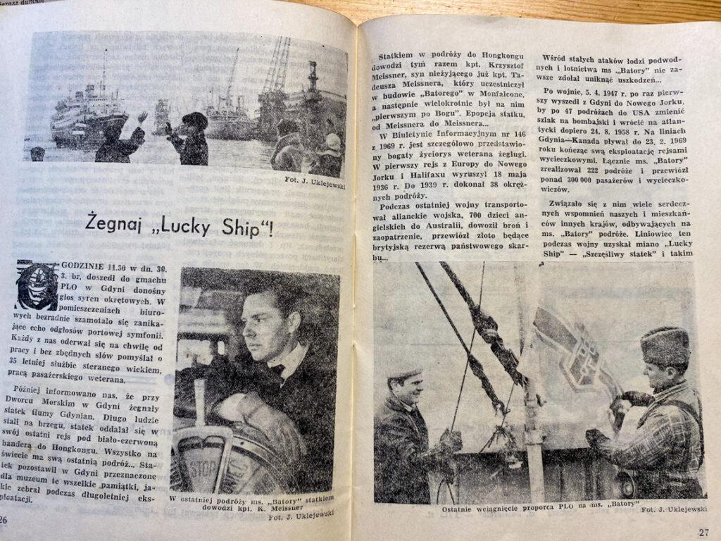 """""""Żegnaj Lucky Ship!"""". Mój Dziadek podczas wciągania proporca PLO na MS Batory - na zdjęciu na stronie 27, po prawej."""